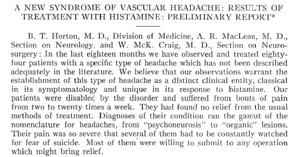 A New Syndrome of Vascular Headache, Horton 1939